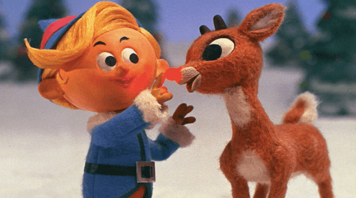 Rudolph the red-nosed reindeer with elf