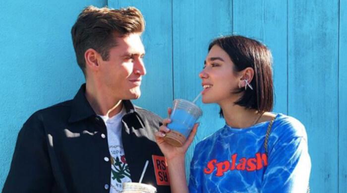 Dua Lipa drinking coffee with her boyfriend