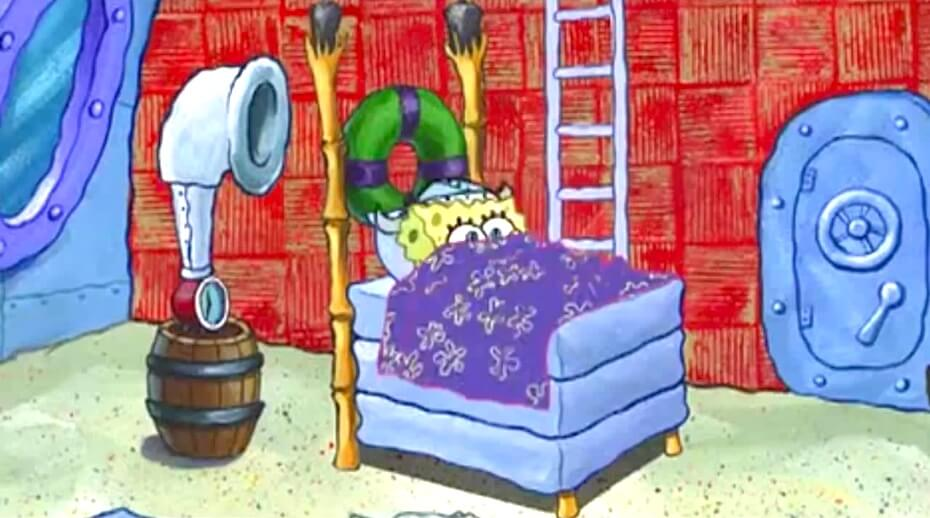 SpongeBob SquarePants: SpongeBob cuddles up in bed