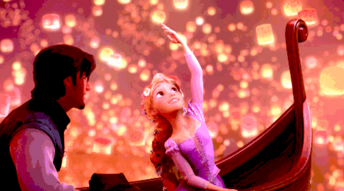 Tangled: Rapunzel and Flynn Rider in boats with paper lanterns date