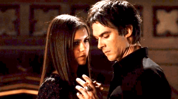 The Vampire Diaries: Damon and Elena dancing together