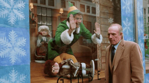 Elf: Buddy yelling at Walter from store window