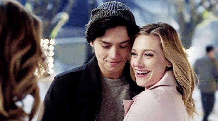 Betty and Jughead looking happy with one another on an episode of Riverdale