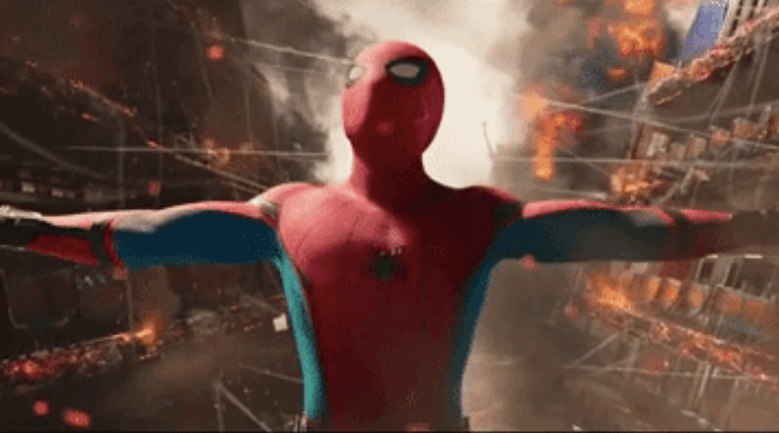 Spider-Man: Homecoming - spider-man holding two pieces of a ship together