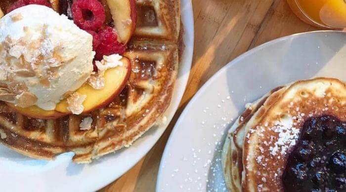 Instagram: Waffles and pancakes breakfast with fruit topping