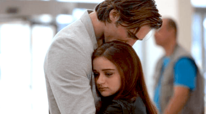 the kissing booth: elle and noah saying goodbye at the airport