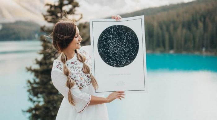 Instagram: The Night Sky - Woman holding poster