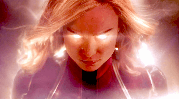Captain Marvel: Carol Danvers with glowing eyes from trailer