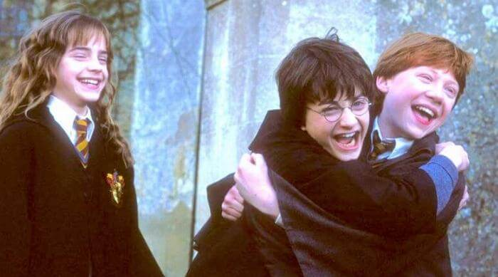 Harry Potter and the Sorcerer's Stone - Hermione, Harry and Ron laughing
