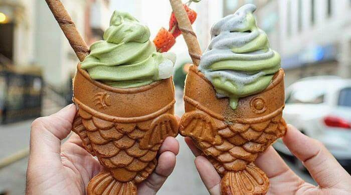 Taiyaki NYC fish-shaped ice cream cones with green tea ice cream