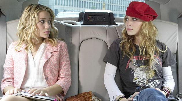 Mary Kate and Ashley in a limo in a scene from New York Minute
