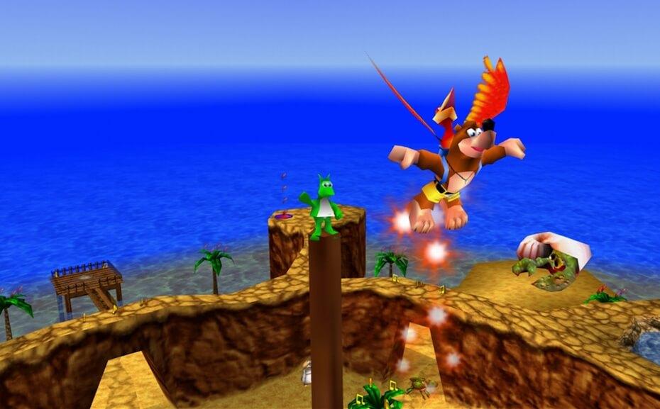 Banjo-Kazooie: Flying next to Jinjo in Treasure Trove Cove