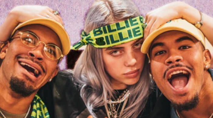 Billie Eilish posing with friends