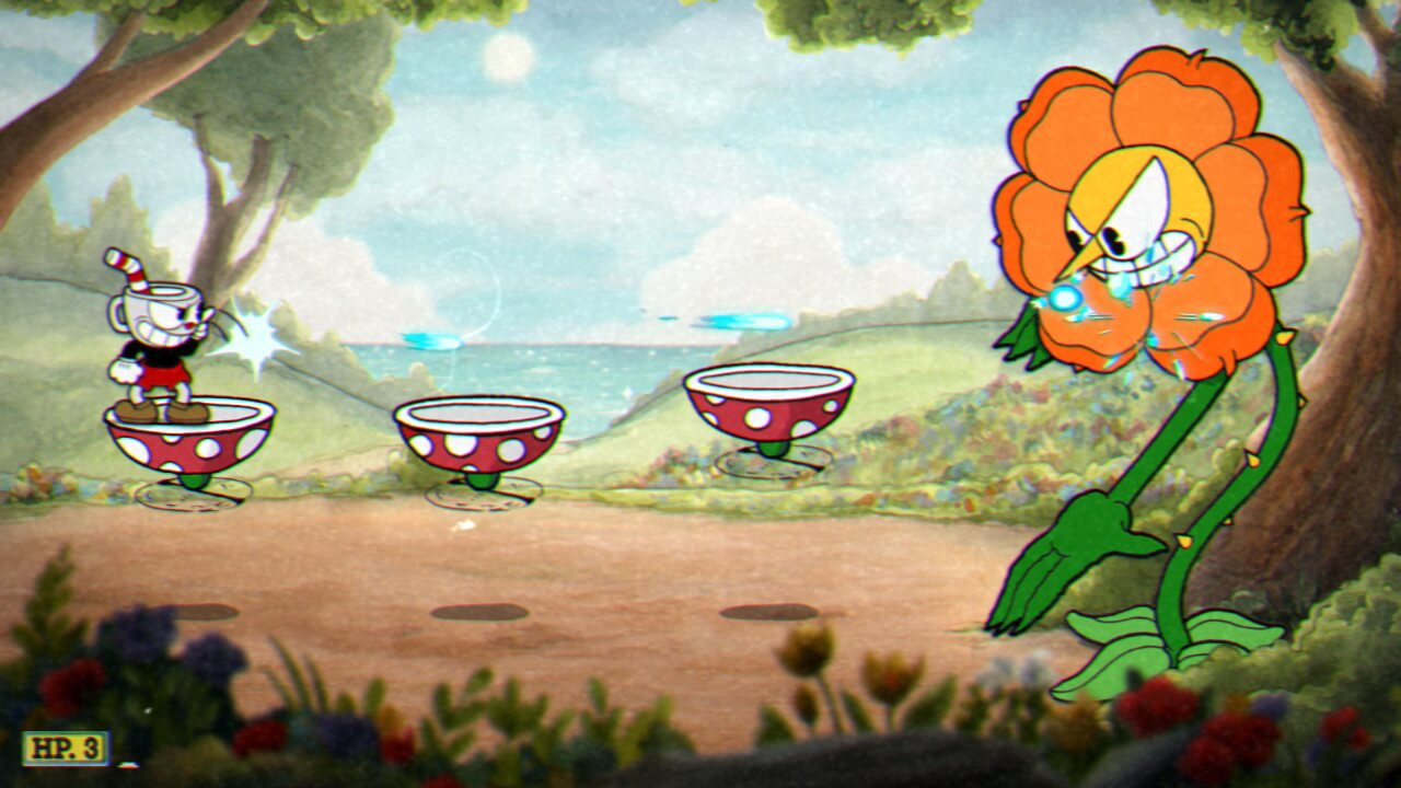 Cuphead: Floral fury fighting Cagney Carnation