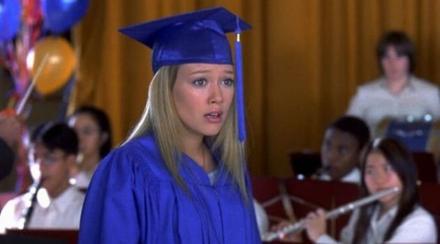 Lizzie McGuire looking shocked at her graduation in The Lizzie McGuire Movie