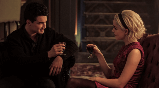 CHILLING ADVENTURES OF SABRINA - SABRINA AND NICK SITTING IN THE LOUNGE