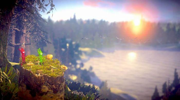 Unravel 2: Yarnys with birds flying over lake in background