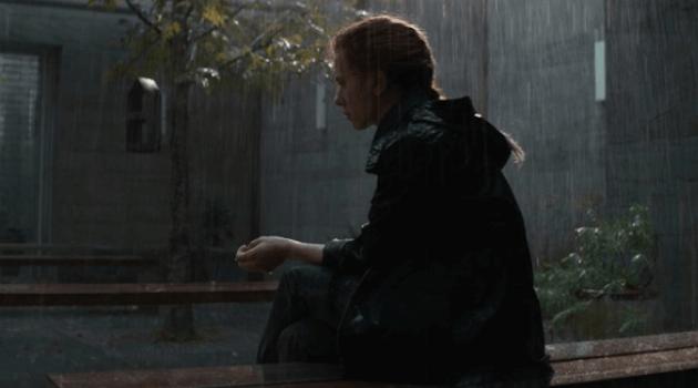 AVENGERS: ENDGAME - BLACK WIDOW SITTING IN THE RAIN