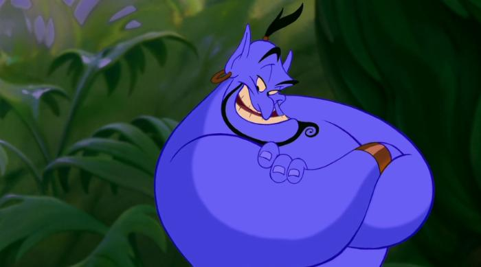 Aladdin: Genie crossing his arms and looking smug
