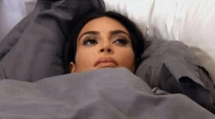 Instagram: Kim Kardashian awkwardly in bed under blanket meme