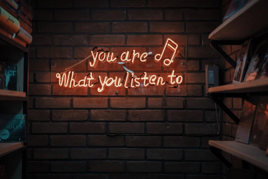 listening neon sign