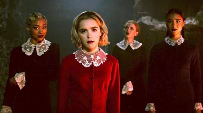 Sabrina teaming up with the weird sisters to teach some boys a lesson in Chilling Adventures of Sabrina