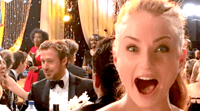 Sophie Turner freaking out about seeing Ryan Gosling