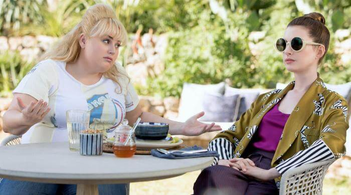 The Hustle: Rebel Wilson and Anne Hathaway above table
