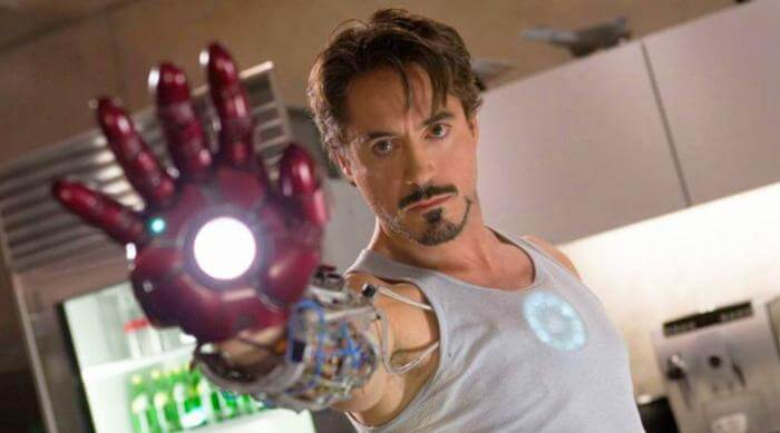 Tony Stark with Iron Man Hand