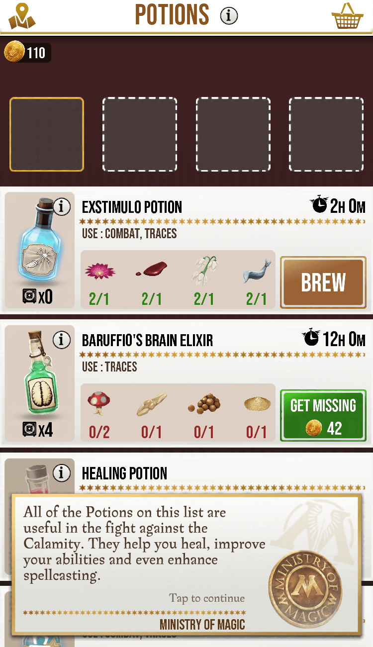 Harry Potter: Wizards Unite - Potions ingredients