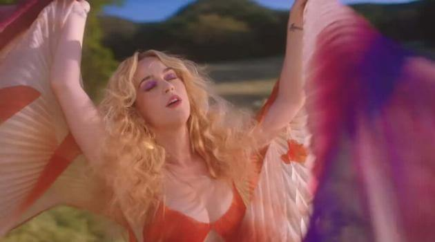 "Katy Perry dancing in her music video for ""Never Really Over"""