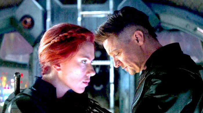 Avengers: Endgame - Scarlett Johannsen as Natasha Romanoff Black Widow and Jeremy Renner as Clint Barton Hawkeye