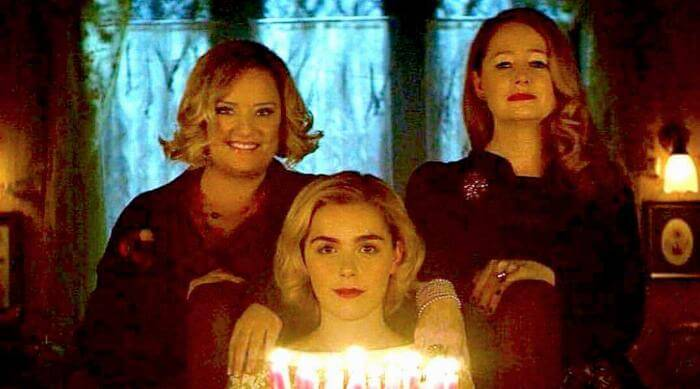 Chilling Adventures of Sabrina: Sabrina and Aunts with birthday cake