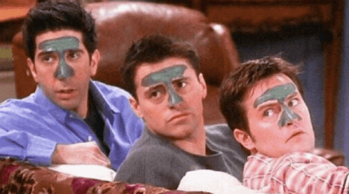friends characters in face masks