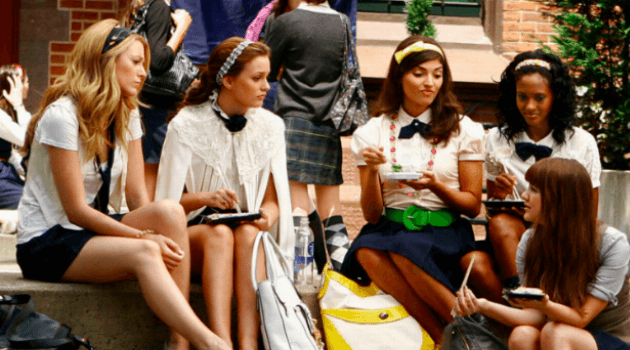 gossip girl characters in school uniforms
