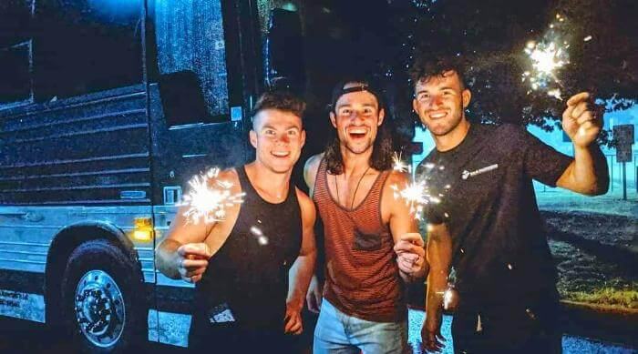 Instagram: OBB Band photo of Zach, Jacob and Nich Oswald with 4th of July sparklers