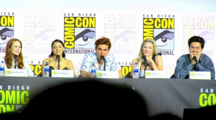San Diego Comic-Con Riverdale Hall H panel 2019: Madelaine Petsch, Camila Mendes, KJ Apa, Lili Reinhart and Cole Sprouse laughing