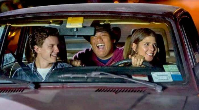 Spider-Man: Homecoming - Peter Parker, Ned Leeds and Aunt May driving in car