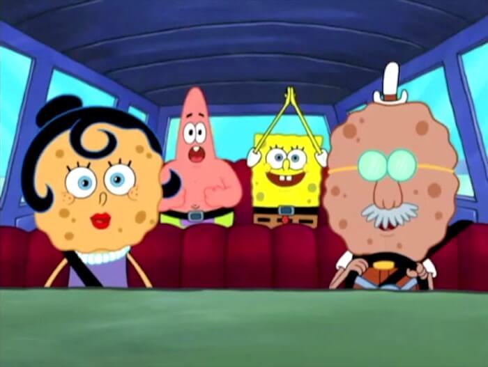 SpongeBob SquarePants: SpongeBob's parents driving Patrick and SpongeBob in a car