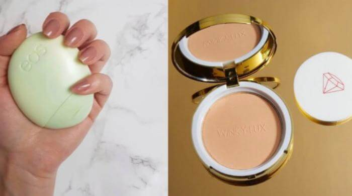 eos hand cream and winky lux pressed powder foundation