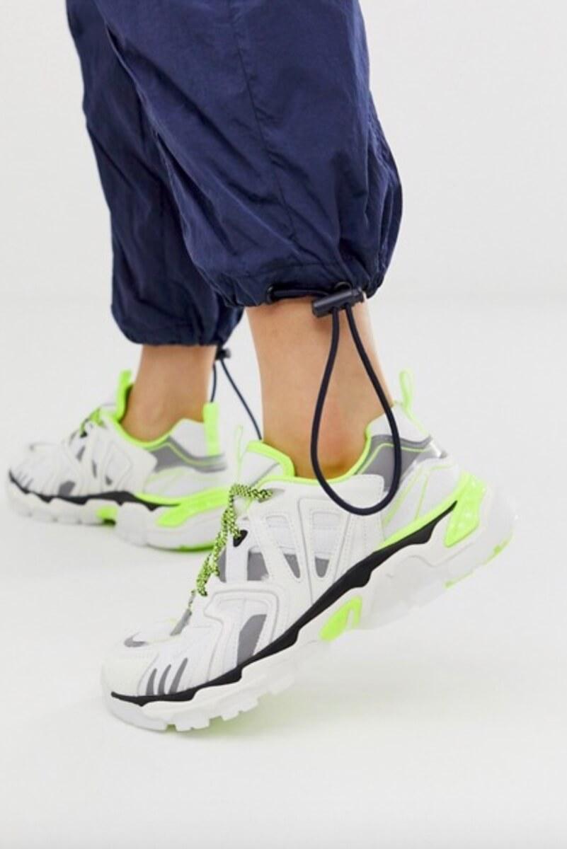 bershka neon white sneakers