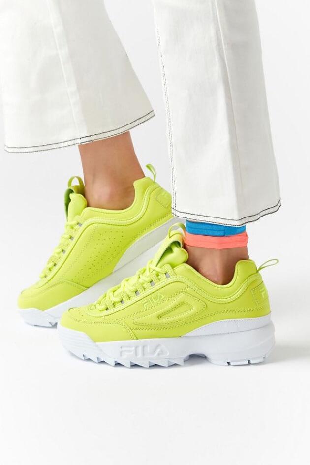 fila neon yellow sneakers