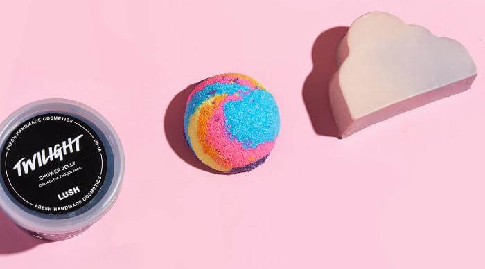 Lush 2019 summer product line: Twilight Shower Jelly, Aurora Borealis Naked Shower Scrub and Sleepy Soap