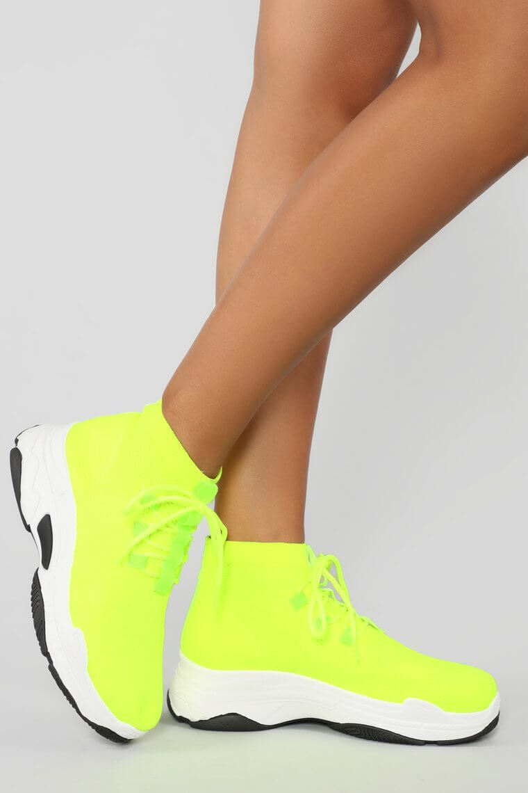 neon lime sneakers fashion nova