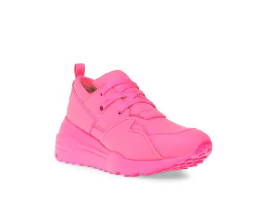 neon pink sneakers Steve Madden