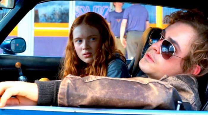 Stranger Things: Dacre Montgomery as Billy Hargrove takes Sadie Sink as Max Mayfield to school