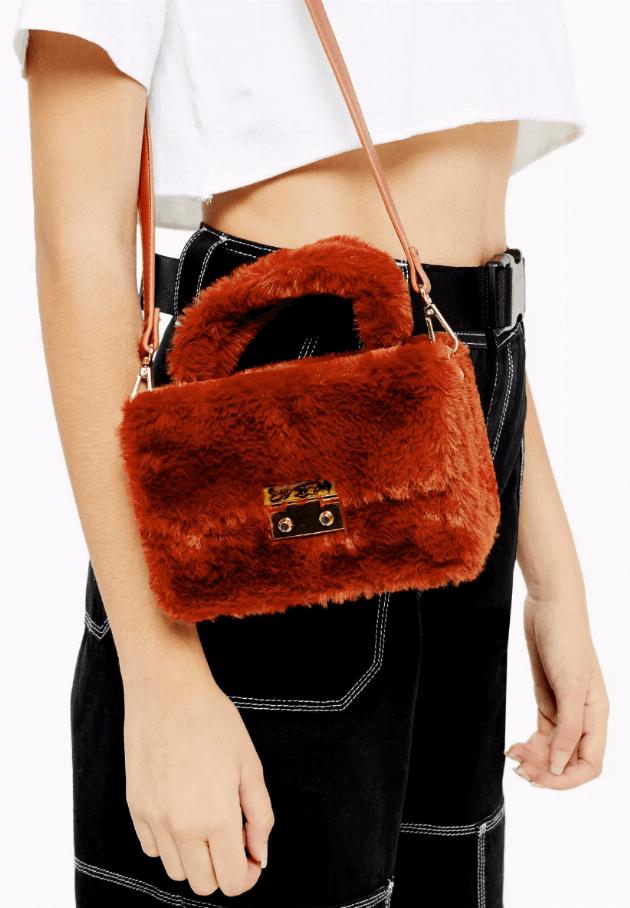 topshop faux fur orange crossbody bag