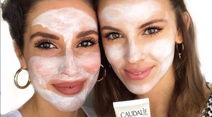 Two girls face masks