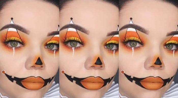 candy corn makeup halloween