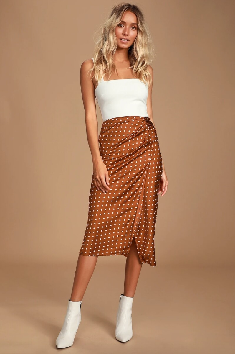 midi skirt polka dot